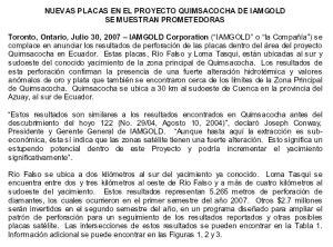 Iamgold Descubre importantes reservas de oro en Ecuador
